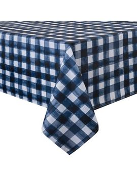 Basics Watercolor Check Printed 60 Inch X 84 Inch Oblong Tablecloth In Navy by Bed Bath And Beyond