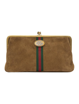Brown Suede Ophidia Clutch by Gucci