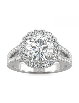 Signature Round Halo Split Shank Engagement Ring 2.63 Ctw In White Gold by Charles And Colvard