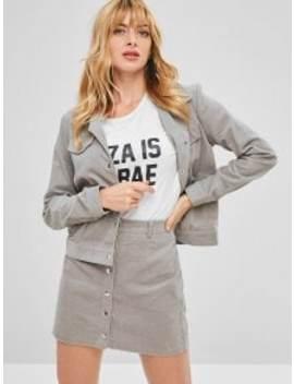 Zaful Corduroy Jacket And Button Fly Skirt Set   Gray S by Zaful