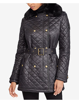 Faux Fur Collar Double Breasted Coat by Lauren Ralph Lauren