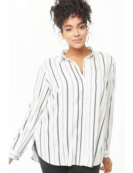 Plus Size Striped High Low Shirt by Forever 21