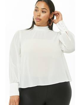 Plus Size Sheer Chiffon Mock Neck Top by Forever 21