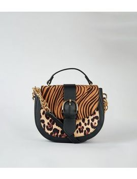 Brown Tiger And Leopard Print Saddle Bag by New Look
