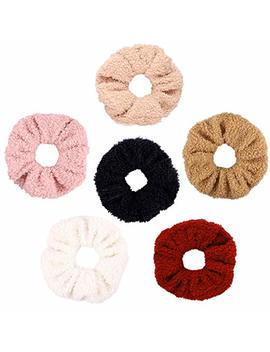 Watinc 6 Pcs Teddy Faux Fur Hair Scrunchies, Colorful Large Hair Ties, Strong Elastic Hair Bobbles For Ponytail Holder, Hair Accessories Ropes... by Watinc