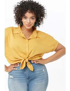 Plus Size Button Front Shirt by Forever 21