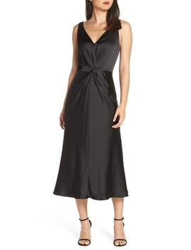 Knot Front Satin Dress by Maggy London