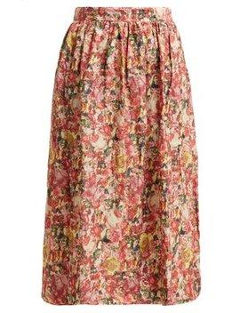 Tie Waist Floral Print Midi Skirt by Marni
