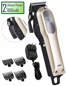 Hair Clippers For Men Professional, Kebor Electric Cordless Built In Huge 2000m Ah Barber Haircutting Set With Taper Lever, Rechargeable Lithium Ion Battery, Powerful Motor, Detachable Cord   2018 Gold by Kebor