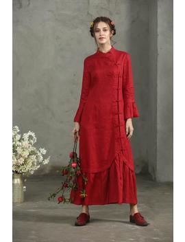 Maxi Red Dress, Red Linen Dress, Maxi Dress In Red, Princess Sleeve Dress, Ruffle Dress, Cocktail Dress, Wedding Dress, Prom Dress, 【A17033】 by Etsy