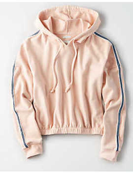Ae Stripe Trim Cinched Hem Hoodie by American Eagle Outfitters