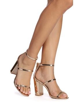 Golden Glam Metallic Block Heels by Windsor