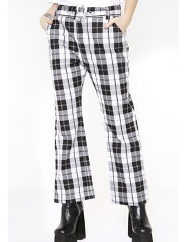 Black N' White Check Kick Flare Trousers by Lazy Oaf