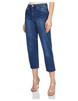 Ada Crop Straight Jeans In Mid Blue by Reiss