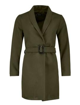 Horn Button Belted Wool Look Coat by Boohoo