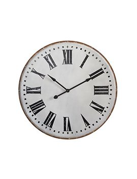 Creative Co Op White Classic Round Metal Wall Clock by Creative Co Op