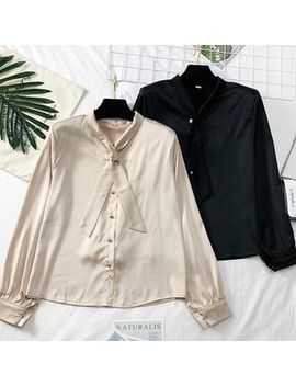Lemongrass   Ribbon Neckline Satin Shirt by Lemongrass