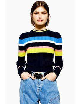 Stripe Slub Cropped Jumper by Topshop