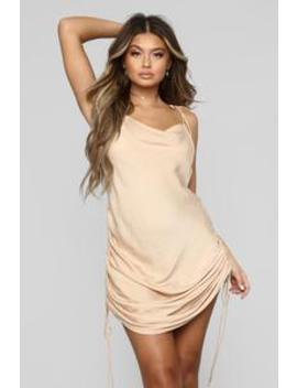 Come Pull My Strings Mini Dress   Taupe by Fashion Nova
