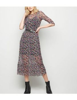 Black Bright Floral Mesh Midi Dress by New Look