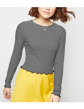 White Stripe Frill Hem Long Sleeve Top by New Look
