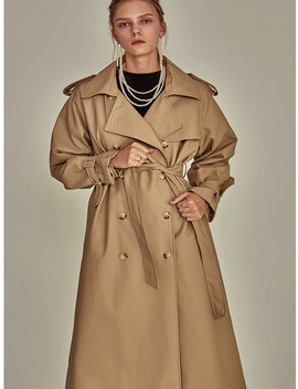 Faux Leather Double Trench Coat Beige by Yan13