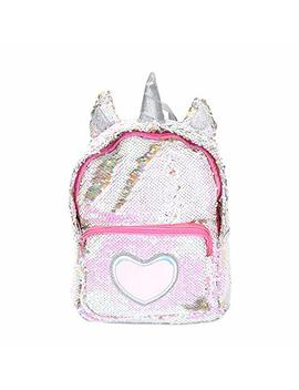 Starte Pu Bling Toddler Unicorn Backpack For Girls Trave School Mini Backpack For Women Sequins Critter Backpack,Silver by Starte
