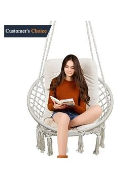 Hammock Chair Macrame Swing, 330 Pound Capacity, Hanging Cotton Rope Chair New by Ebay Seller