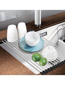 Dish Rack, Aiduy Roll Up Dish Drying Rack Dish Drainer Over The Sink Drying Rack Folding Sink Rack For Kitchen   Premium Stainless Steel by Aiduy