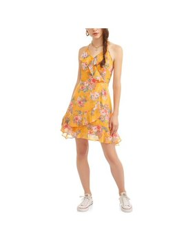 Almost Famous Juniors' Ruffle Surplus Wrap Dress by Almost Famous