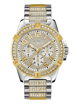 Men's Pavé Crystal Set Two Tone Stainless Steel Bracelet Watch 50mm by Guess