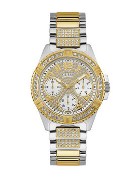 Women's  Two Tone Stainless Steel Bracelet Strap With Crystal Detail Watch 40 Mm, Created For Macy's by Guess