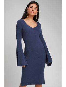 Jourdaine Navy Blue Bell Sleeve Sweater Dress by Lulus
