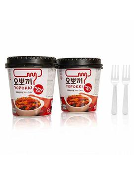 Tteokbokki Korean Rice Cake Instant 10oz 280g (Pack Of 2, Spicy & Sweet Sauce) Korean Snack Tteok Tteokbokki Rice Cake 떡볶이 by Yopokki