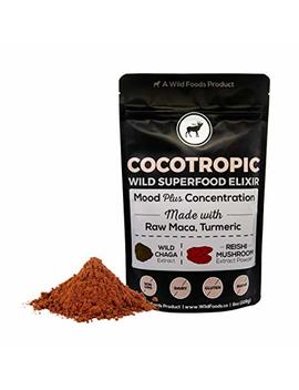 Wild Cocotropic Raw Cacao Drink Elixir With Reishi, Chaga, Raw Maca, Turmeric | Nootropic Hot Cocoa Beverage, Add To Smoothies, Shakes, Coffee (16 Ounce) by Wild Foods
