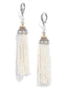 Imitation Pearl Tassel Earrings by Jenny Packham