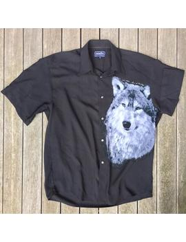 Vintage 90's Grunge Wolf Print Double Sided Unisex Oversized Medium Short Sleeve Shirt Retro Rockabilly Party Kramer Wolf Summer Festival by Etsy