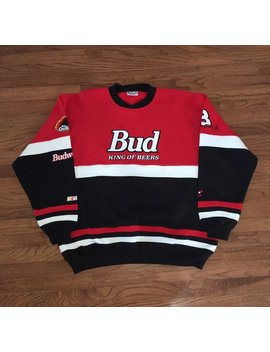 Vintage 90s Bud King Of Beer Dale Earnhardt Jr Crewneck Sweatshirt Size Mens Xl by Etsy