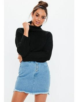 Blue Light Wash Step Hem Demin Mini Skirt by Missguided