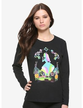 Disney Alice In Wonderland Rainbow Silhouette Girls Long Sleeve T Shirt by Hot Topic