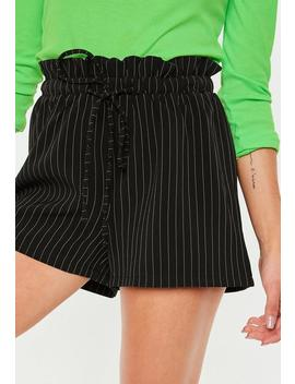 Black Pinstripe Gathered Waist Shorts by Missguided