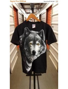 New Year Sale 15 Percents Off Vintage 1995 Lone Wolf Graphic Print T Shirt. Adult Size Medium. by Etsy