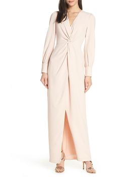 Twist Front Faux Wrap Gown by Harlyn