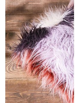 Pastel Patchwork Faux Fur Throw Cushion by Urban Outfitters