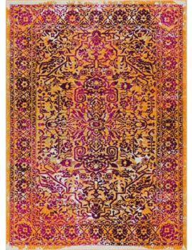 "Alhambra Modern Vintage Bright Floral Traditional Medallion Fuscia Purple Yellow Gold 8x10 (7'10"" X 9'10"") Area Rug by Well Woven"