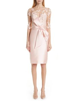 Badgley Mischka Lace Accent Bow Cocktail Dress by Badgley Mischka Collection