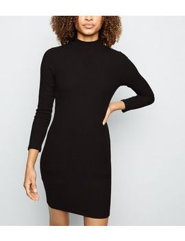 Black Brushed Rib High Neck Bodycon Dress by New Look