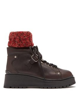 Knitted Sock Style Lace Up Leather Ankle Boots by Miu Miu