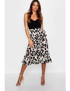 Satin Leopard Ruffle Wrap Midi Skirt by Boohoo
