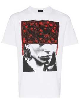 Face And Pattern Print Cotton T Shirt by Raf Simons